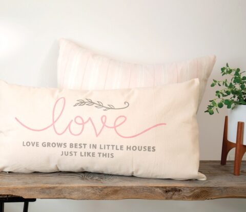 Just Like This Transfer finished project on lumbar pillow