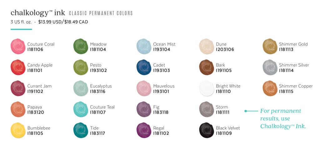 Chalkology Ink Colors Spring Summer 2021