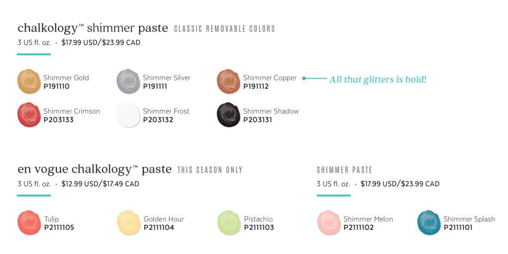 Chalkology Shimmer Paste & En Vogue Colors Spring Summer 2021