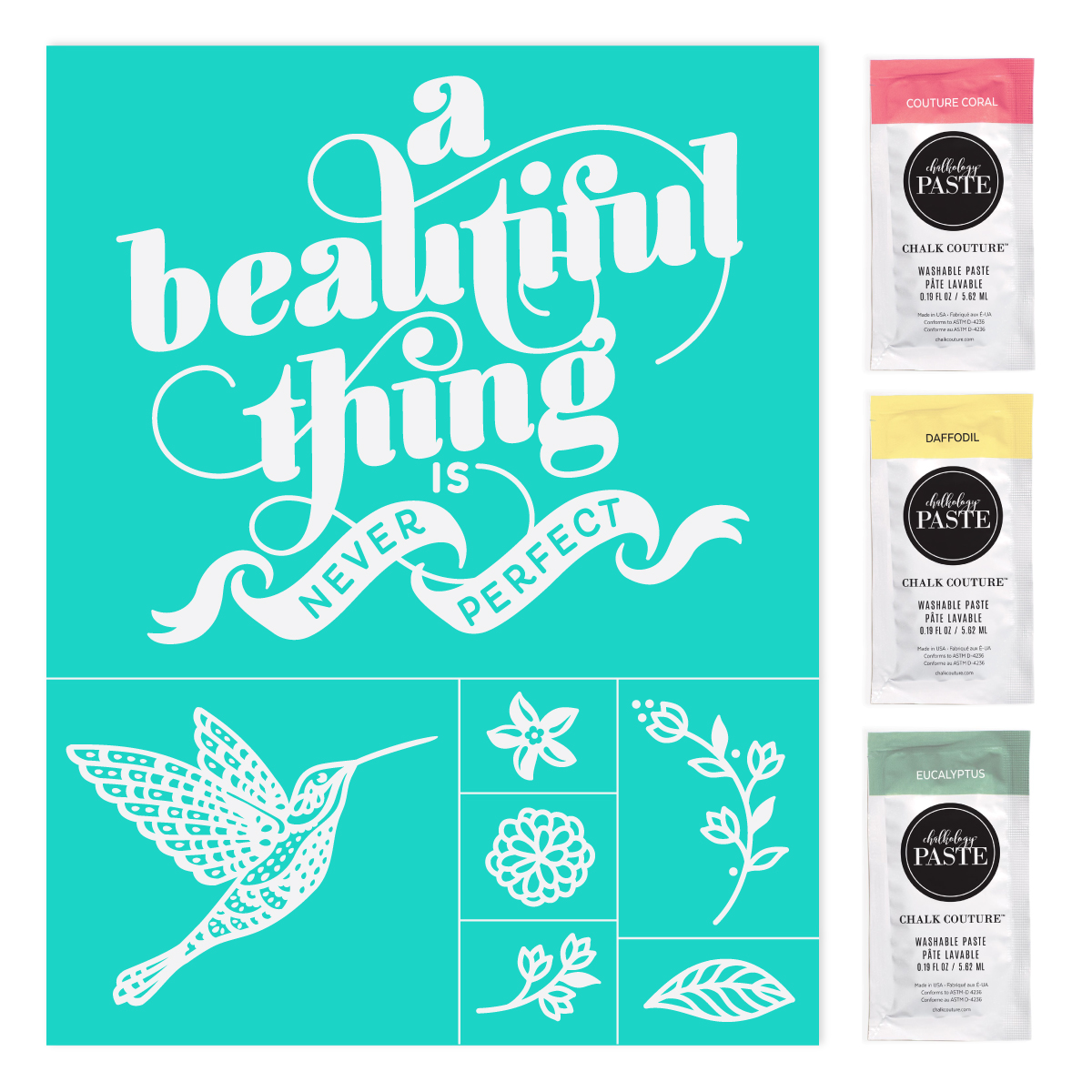 Club Couture June 2021: A Beautiful Thing Transfer shown with the 3 Paste Single packets